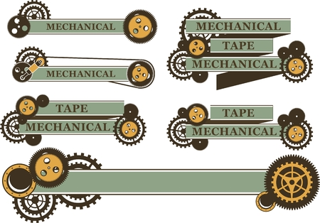 set of ribbons and banners decorated in the style of steampunk gears on a white background Stock Illustratie