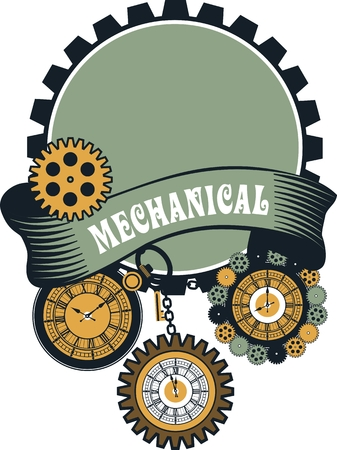 Vector Steampunk mechanical pocket watch elements are interlaced with banners and rotating parts Illustration