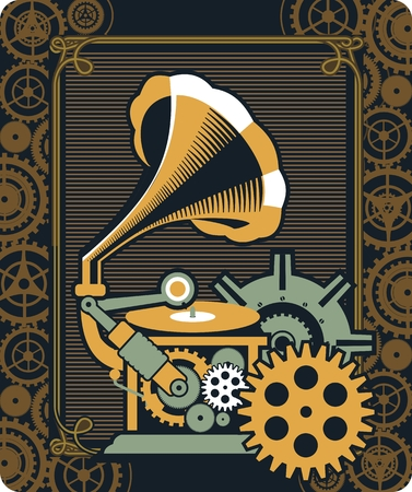 illustration of Steampunk with an antique gramophone mechanical components and rotating parts Vector