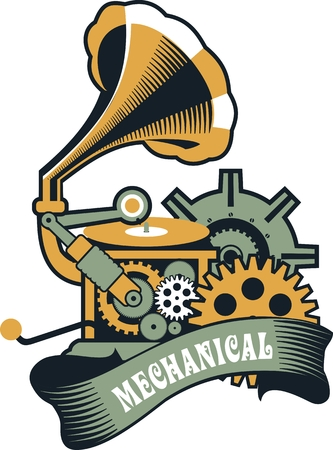 illustration of Steampunk with an antique gramophone mechanical components and rotating parts on a white background