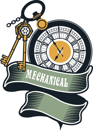 watch glass: Vector Steampunk mechanical pocket watch elements are interlaced with banners and rotating parts Illustration