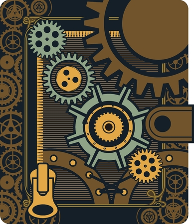 Vector Steampunk mechanical elements and rotating parts in a rectangular shape