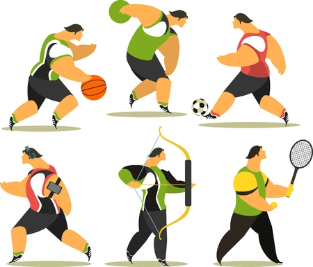 set of the athletes of various sports ball, onions on a white background Illustration