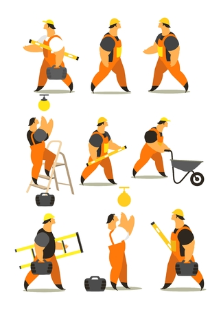 set characters of men dressed in working clothes in different poses on a white background