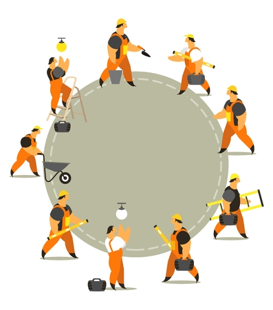 maintenance man: set characters of men dressed in working clothes in different poses on a white background