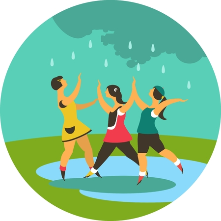 childhood children playing in the meadow in the rain round emblem Vector