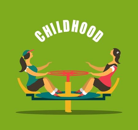 childhood children play on the playground. spinning on the carousel round emblem Vector