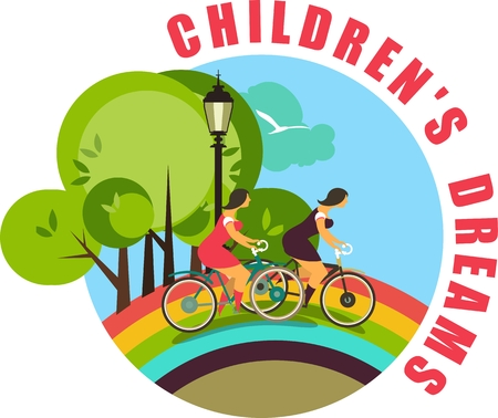 stylized characters are two girls riding a bicycle on a rainbow round emblem Vector