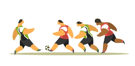 playing soccer: stylized characters group sportsmen footballer playing soccer