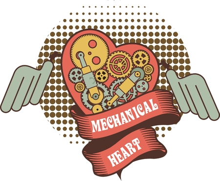 illustration of a mechanical heart of a variety of metal parts Steam punk Ilustrace
