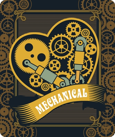 illustration of a mechanical heart of a variety of metal parts Steam punk Stock Illustratie