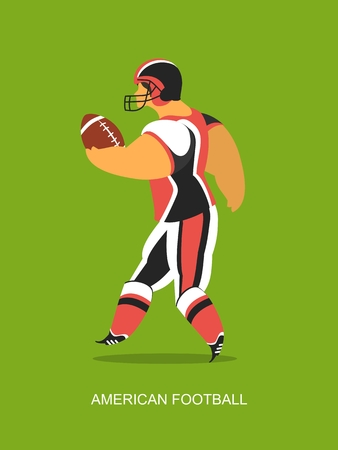 footbal: stylized character in sportswear theme American football poster Illustration