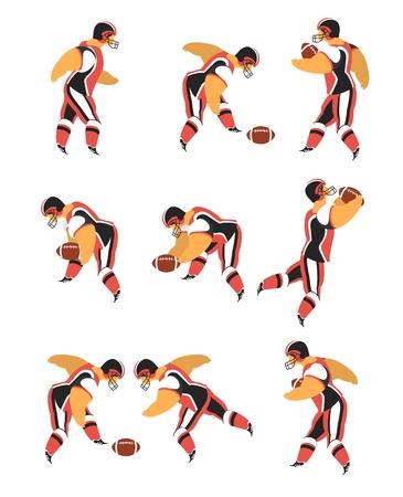 college footbal: personajes conjunto de atletas jugadores de f�tbol americano en un fondo blanco en varias poses con bola