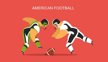 huddle: stylized character in sportswear theme American football poster Illustration