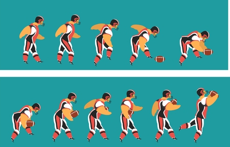 huddle: set characters of athletes American football players on a  in various poses with ball