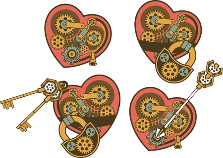 heart bypass: set of mechanical steam punk heart of metal parts Illustration