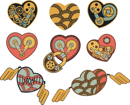 set of mechanical steam punk heart of metal parts Illustration
