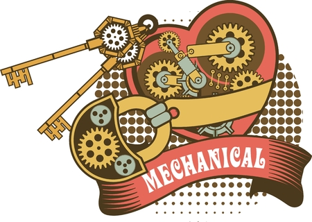 bypass: illustration of a mechanical heart closed on the lock and a number of keys hanging of a variety of metal parts Steam punk