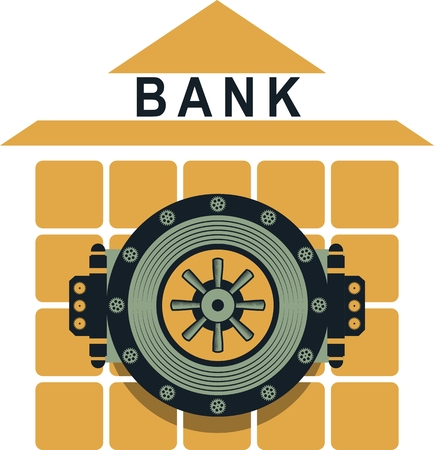 heart bypass: Round door of a large bank vault on a conditional bank building business concept