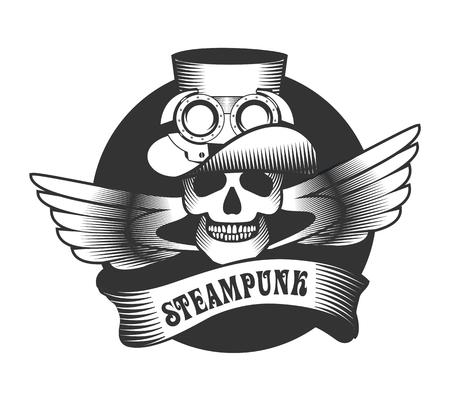 Steam Punk-Abbildung eines menschlichen Schädels in einem Hut mit mteallicheskimi Details auf weißem Hintergrund