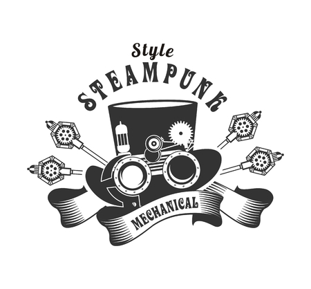 protective goggles: illustration Steampunk hat with mechanical protective goggles and a magnifying glass