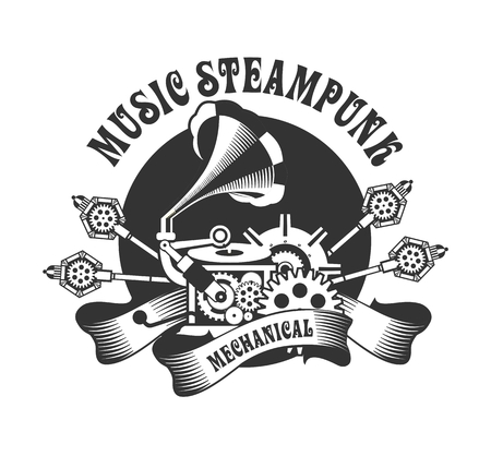 rotating parts: illustration of Steampunk with an antique gramophone mechanical components and rotating parts on a white background