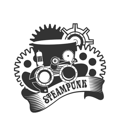 steampunk goggles: illustration Steampunk hat with mechanical protective goggles and a magnifying-glass badge