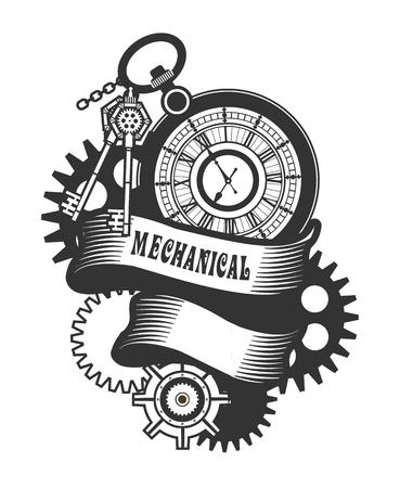 벡터 Steampunk 기계식 시계 및 직사각형 모양 배지에 회전 부품 일러스트