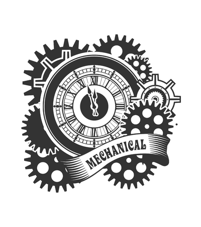 mechanical engineering: Vector Steampunk mechanical clock and rotating parts in a rectangular shape badge Illustration