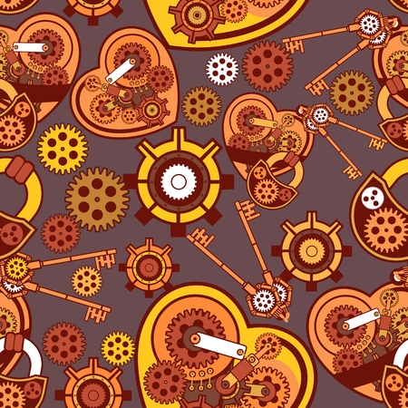 seamless pattern Steampunk mechanism with metal parts in the spare parts