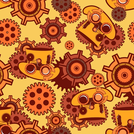 metal parts: seamless pattern Steampunk mechanism with metal parts in the spare parts