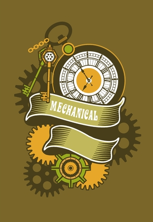 rotating parts: Vector Steampunk mechanical clock and rotating parts in a rectangular shape badge Illustration