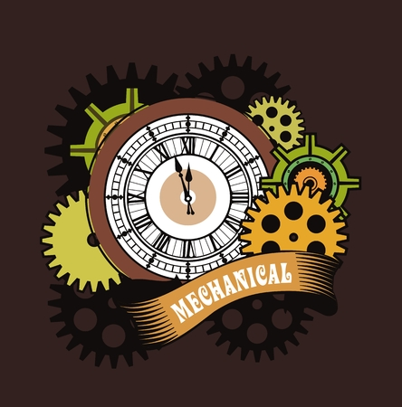 Vector Steampunk mechanical clock and rotating parts in a rectangular shape badge Illustration