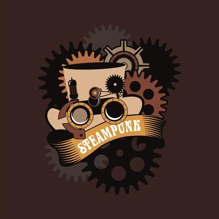 steampunk goggles: Ejemplo del sombrero de Steampunk con los anteojos de protecci�n mec�nica y una lupa