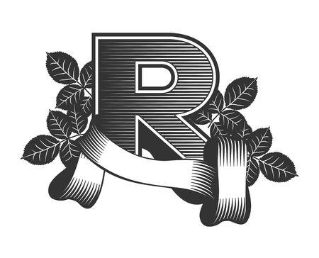 r: Vintage letter R