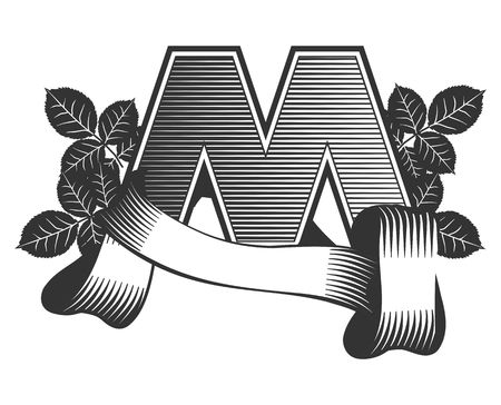decorative letter: Vintage letter M Illustration