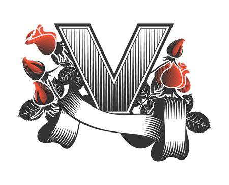 papier lettre: Vintage lettre V