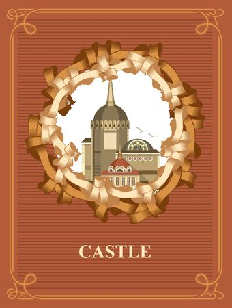 antique books: Vintage frame with a picture of an old castle Illustration