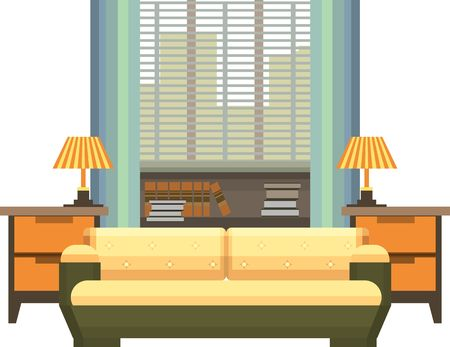 living space: Interior living space bedroom Illustration
