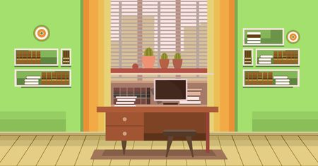 modern furniture: interior with an office desk  Illustration