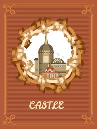 entwined: Vintage frame with a picture of an old castle entwined ribbons on a colored background Illustration