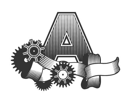 drawn metal: Vintage letter randomly drawn bars decorated with ribbons metal parts gears steam punk style, on a white background, letter A
