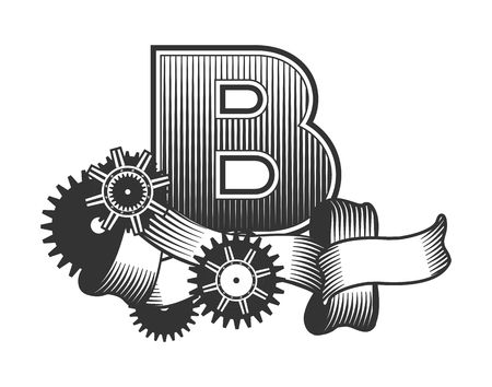 drawn metal: Vintage letter randomly drawn bars decorated with ribbons metal parts gears steam punk style, on a white background, letter B Illustration