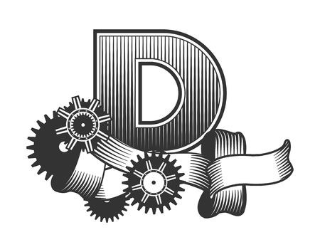 drawn metal: Vintage letter randomly drawn bars decorated with ribbons metal parts gears steam punk style, on a white background, letter D