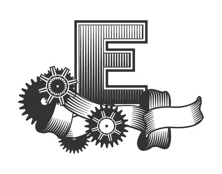 drawn metal: Vintage letter randomly drawn bars decorated with ribbons metal parts gears steam punk style, on a white background, letter E