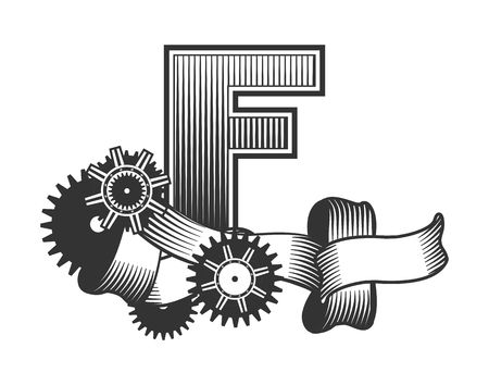 drawn metal: Vintage letter randomly drawn bars decorated with ribbons metal parts gears steam punk style, on a white background, letter F