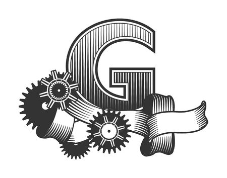 metal parts: Vintage letter randomly drawn bars decorated with ribbons metal parts gears steam punk style, on a white background, letter G