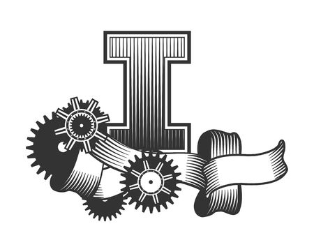 metal parts: Vintage letter randomly drawn bars decorated with ribbons metal parts gears steam punk style, on a white background, letter I