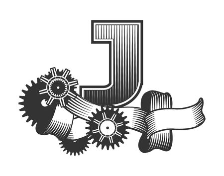 drawn metal: Vintage letter randomly drawn bars decorated with ribbons metal parts gears steam punk style, on a white background, letter J