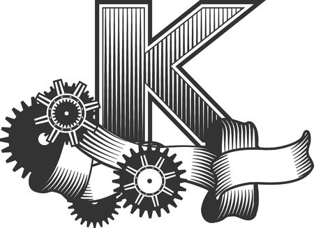 drawn metal: Vintage letter randomly drawn bars decorated with ribbons metal parts gears steam punk style, on a white background, letter K